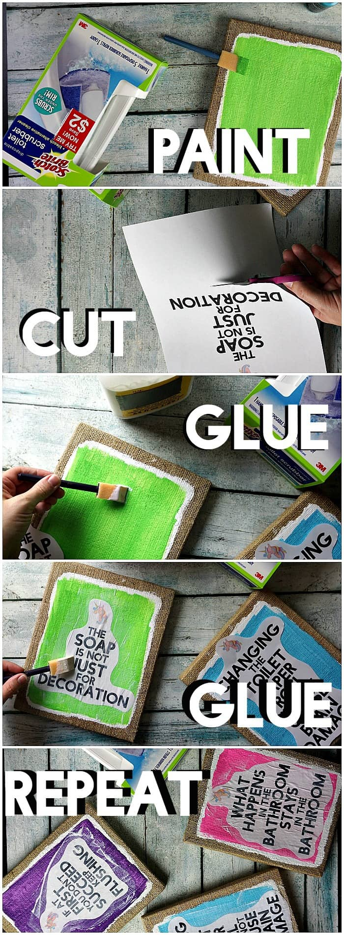 Tutorial for making DIY bathroom art with funny sayings