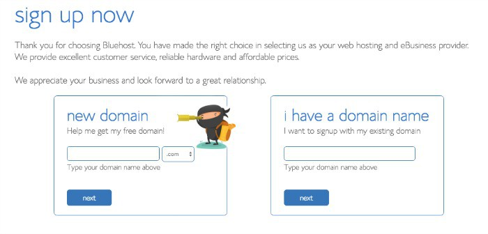 domain sign-up with ninja