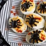 easy spider-topped deviled egg recipe fea