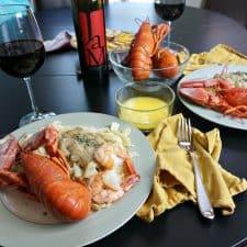 At-Home Date Night and Fresh Lobster with Vegan Mushroom Garlic Alfredo Sauce