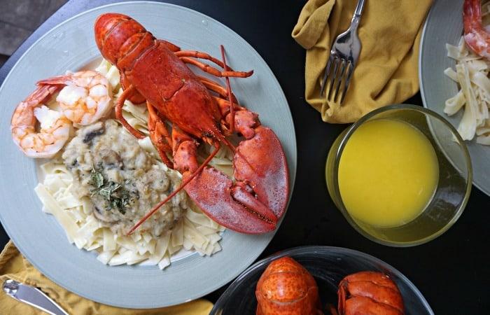 lobster and vegan mushroom alfredo sauce fea