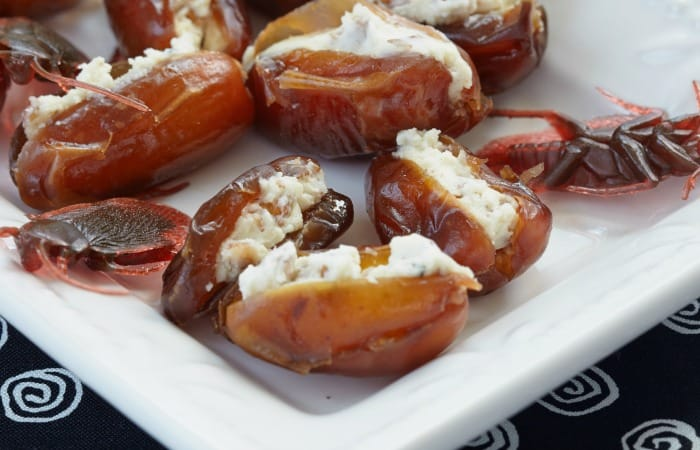 recipe for cheese stuffed dates that look like roaches fea