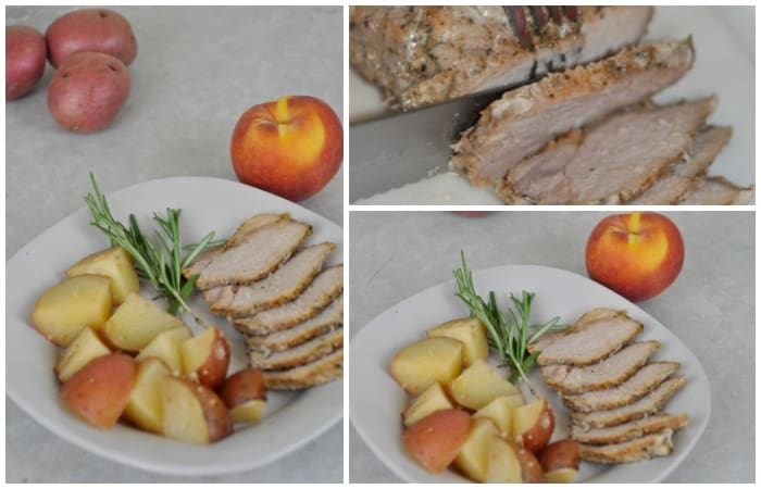 This easy roasted peaches & pork loin one pot crockpot meal is delicious and super simple! It only takes 15 minutes to throw in the crockpot!