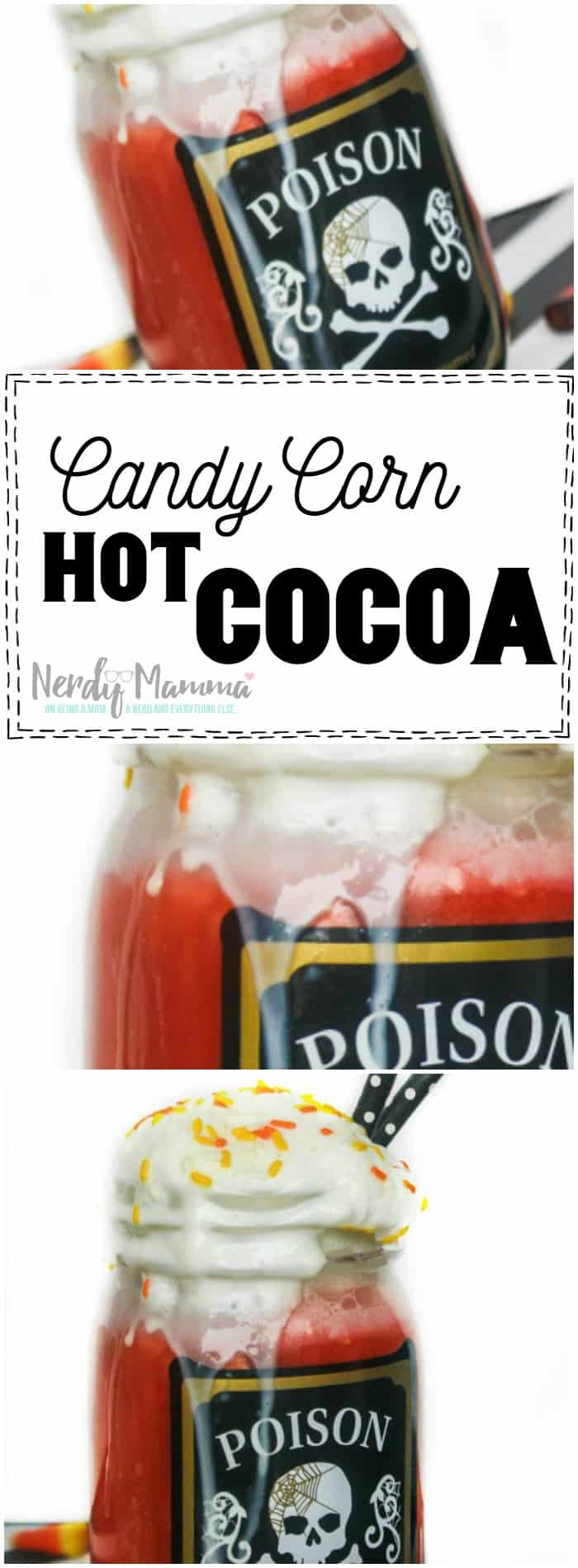 I love this easy recipe for candy corn hot cocoa. Sounds so yummy!