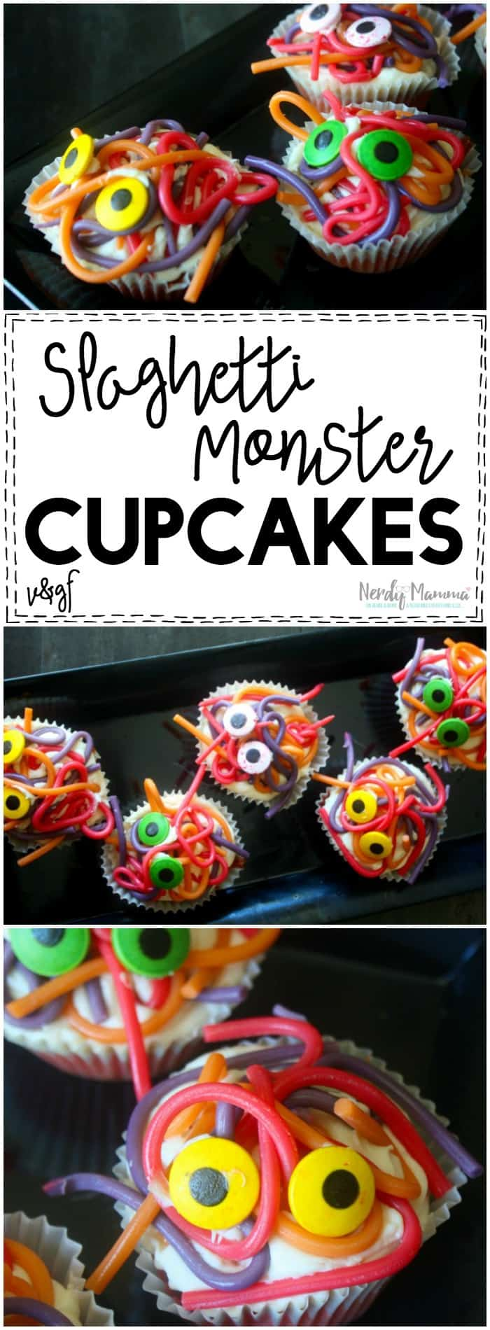 I love this easy recipe for the Spaghetti Monster Cupcakes! SO SIMPLE. And it's vegan and gluten-free...couldn't be better! LOL!