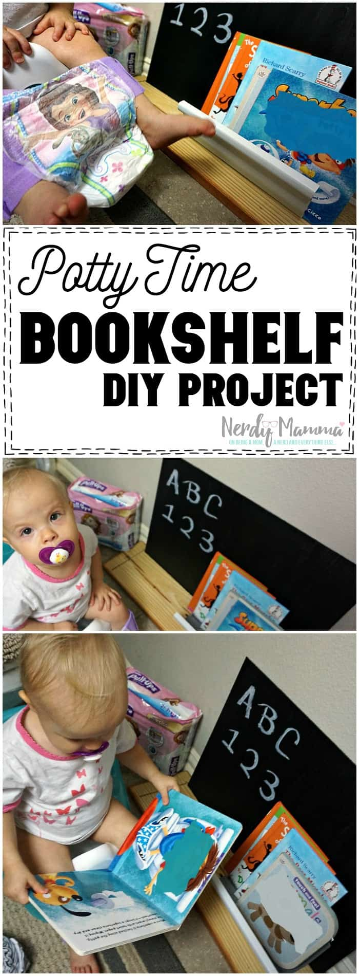 I totally want to make this easy DIY bookshelf for toddlers for the bathroom! What a cute idea! And how simple. I love it!