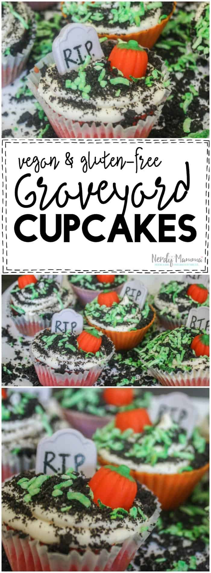 Oh, these graveyard cupcakes seem so DOABLE. I could totally make them for my son's halloween party at school! Love this recipe, too, because it's vegan and gluten-free...safe for all the kids at school!