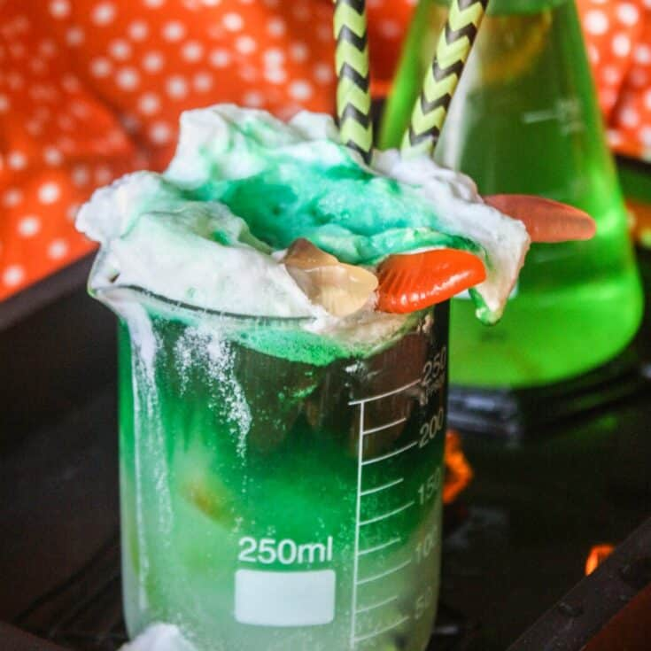 I love this kid-friendly Halloween Party recipe for Toxic Waste Punch. How simple--but fun!