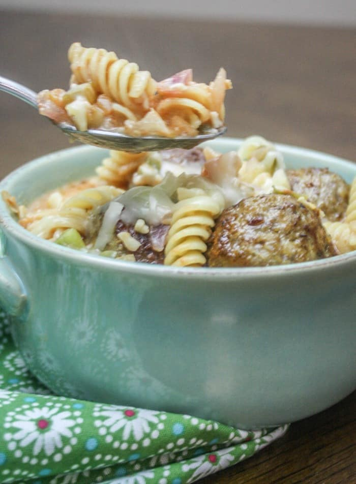 Oh, this recipe for Spicy Italian Meatball Chili is so simple! I love it!