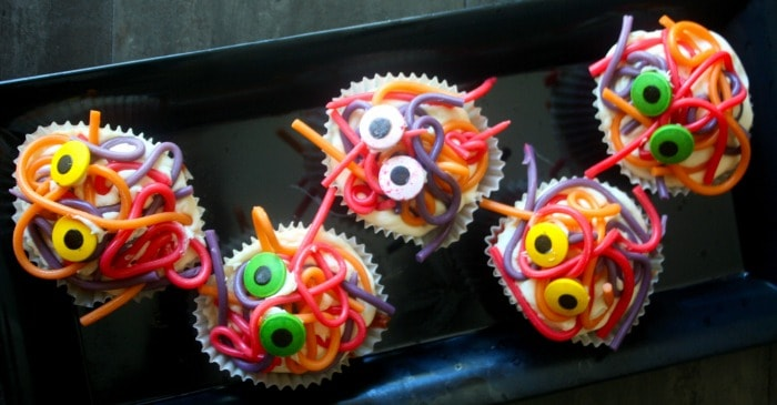 silly spaghetti monste cupcakes for halloween fb