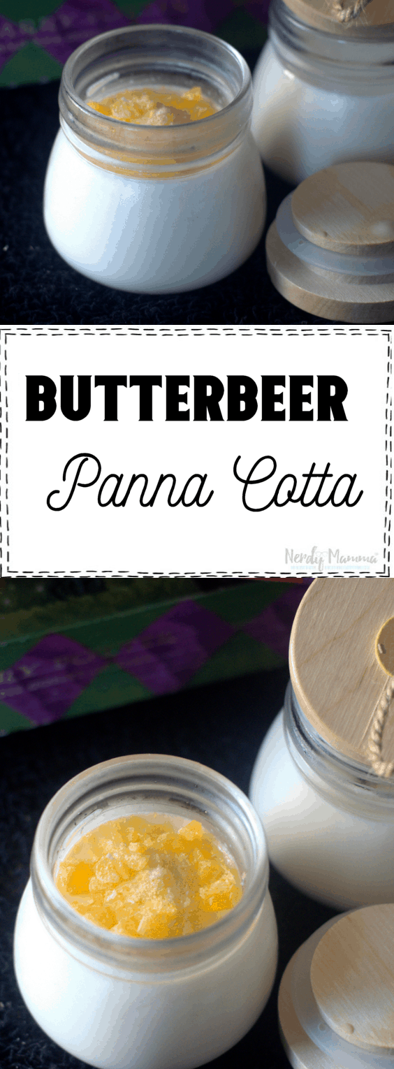 This are so awesome for a Harry Potter party or even a simple dessert on Harry Potter date night. Butterbeer Panna Cotta is this delectable creamy butterscotch dessert that your friends will insist you have a Potter party every single year.