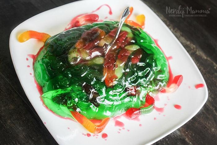 Calling all Jello fans! I've got the perfect Halloween treat for you: zombie brain jello dessert. It's a super fun treat for the Halloween season.