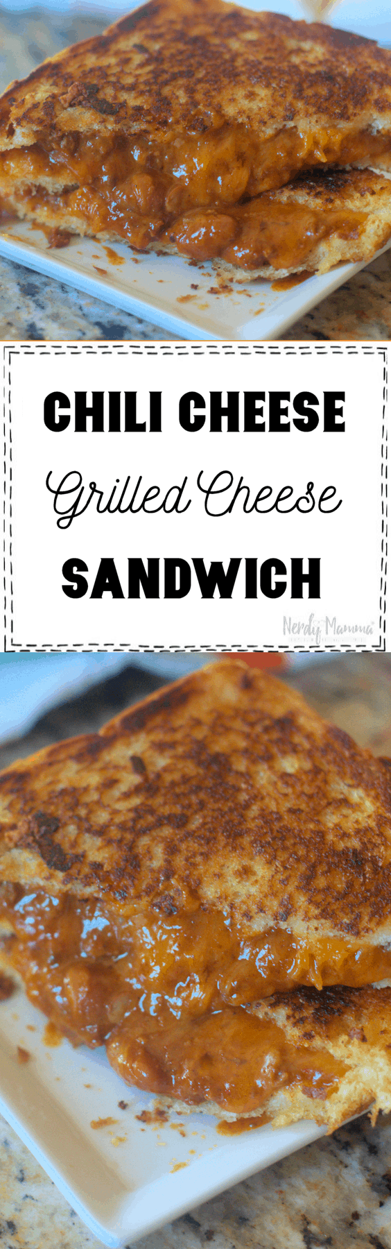 Because the nights are getting colder and the soup sometimes isn't enough to fill those bellies. I bring to you a hot and easy cheesy Chili Cheese Grilled Cheese sandwich.