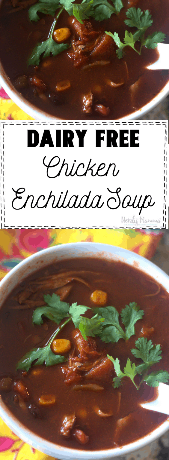This Dairy Free Chicken Enchilada Soup literally comes together in just minutes. You can even cheat it with pantry ingredients and a rotisserie chicken from the store. This is made in a slow cooker.