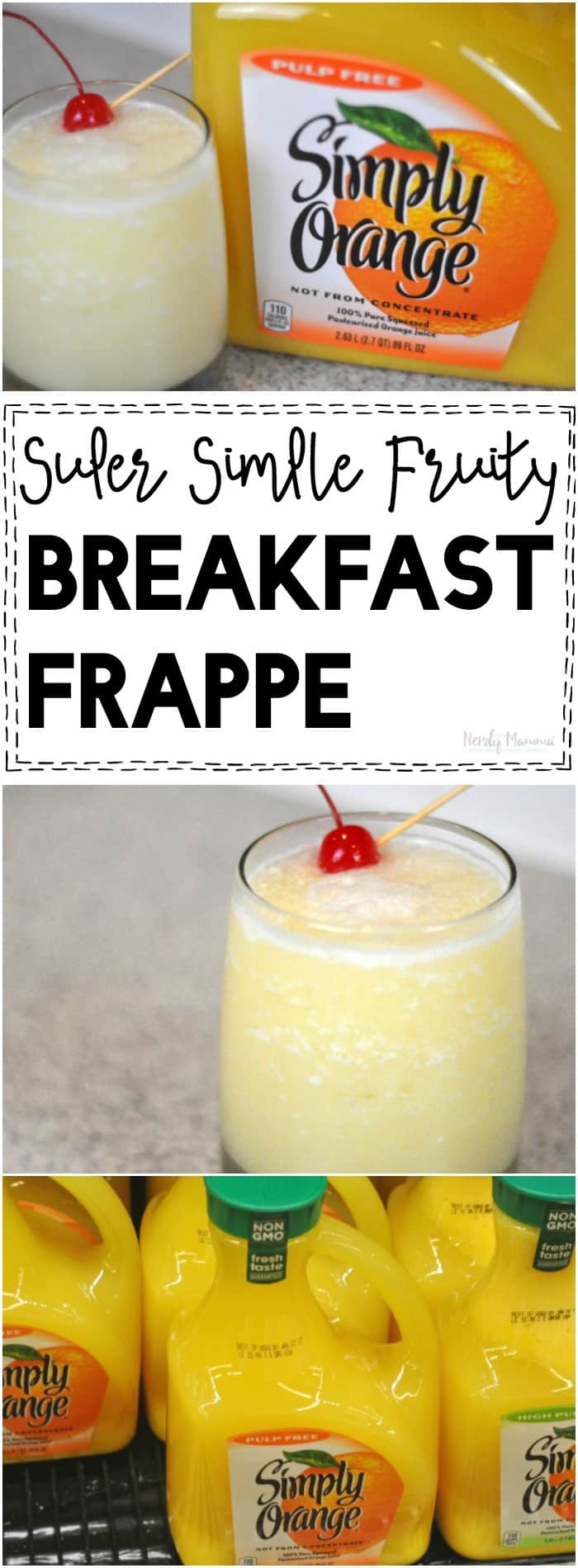 OMG! This super simple fruity breakfast frappe is the PERFECT brunch drink!