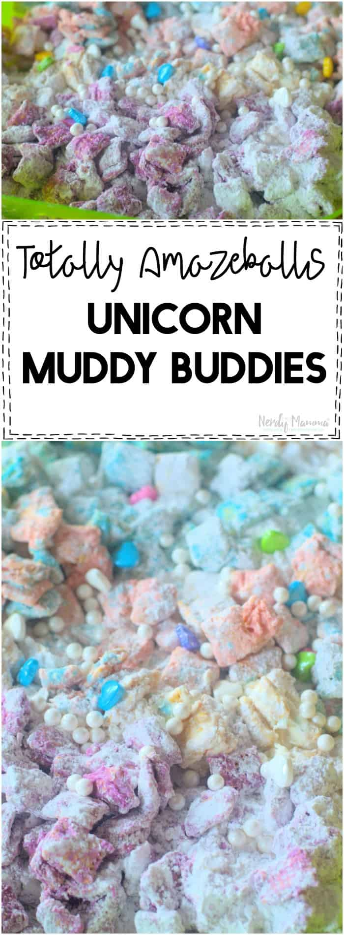 OMG This Unicorn Muddy Buddies recipe is AMAZEBALLS!