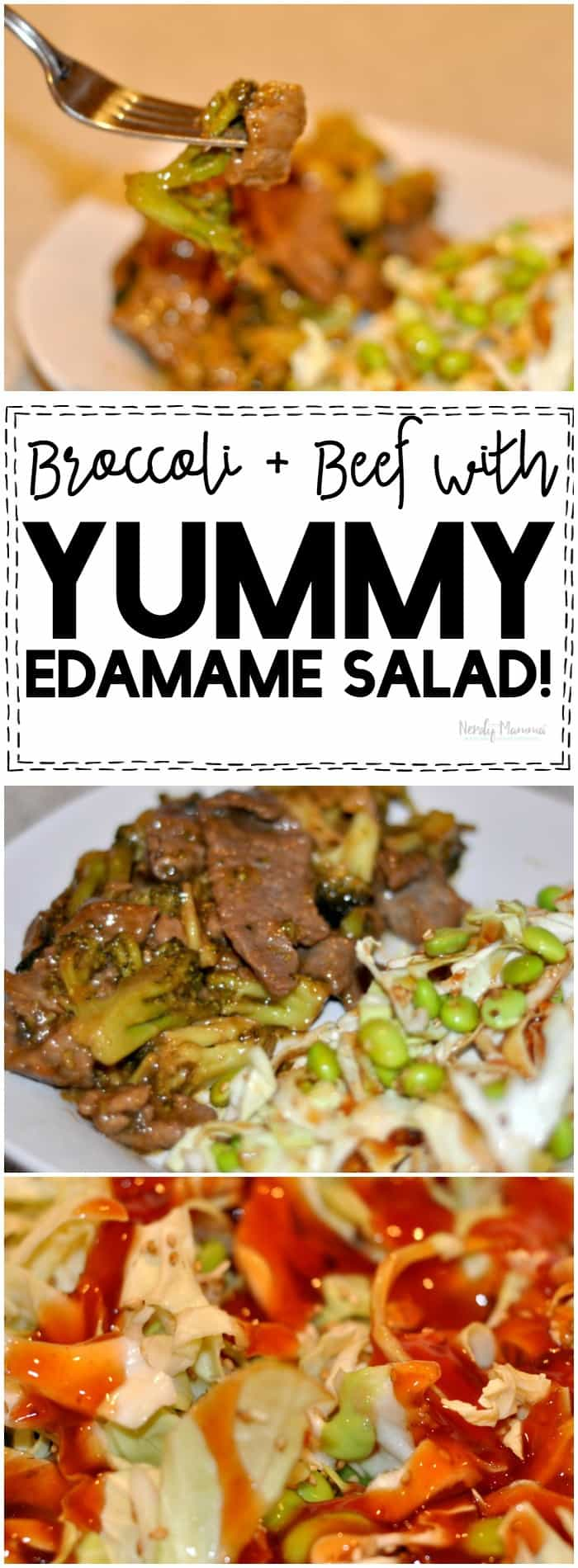 OMG, this beef with broccoli and yummy edamame salad is AMAZEBALLS!
