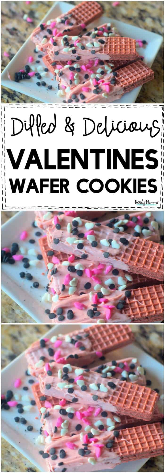OMG! These deliciously dipped Valentines Wafer Cookies are the PERFECT Valentine dessert! So simple and yummy!