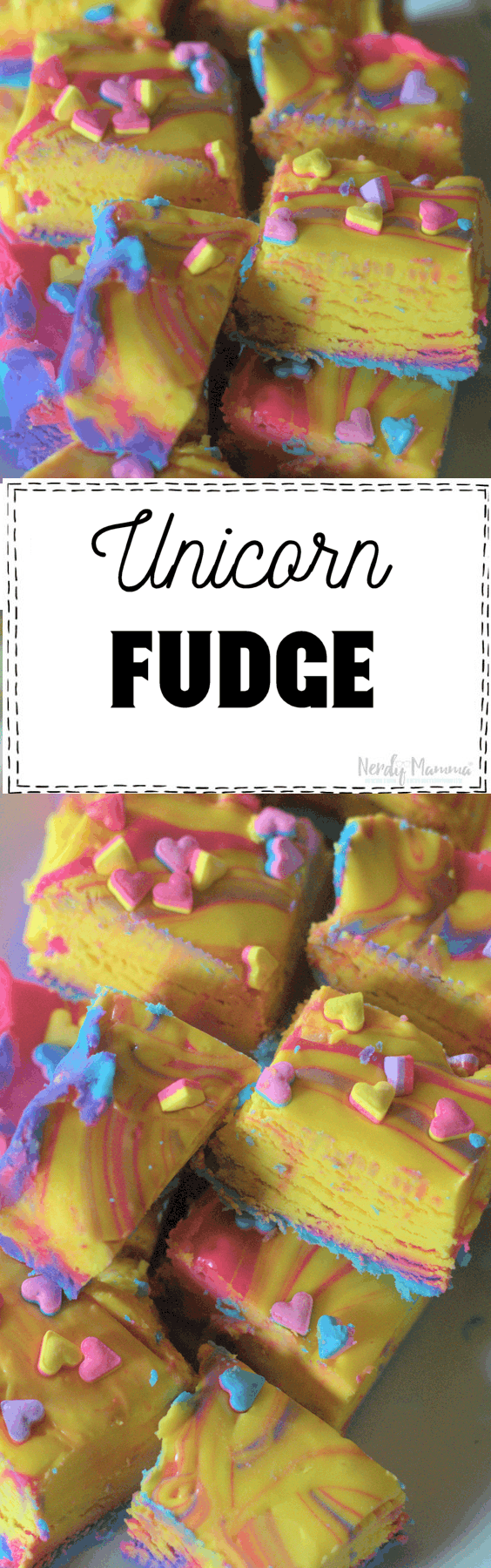Holy moley! This Unicorn Fudge recipe is dairy-free and rainbow! LOVE!
