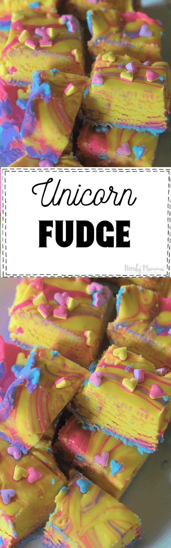 Holy moley! This Unicorn Fudge recipe is dairy-free and rainbow! LOVE!