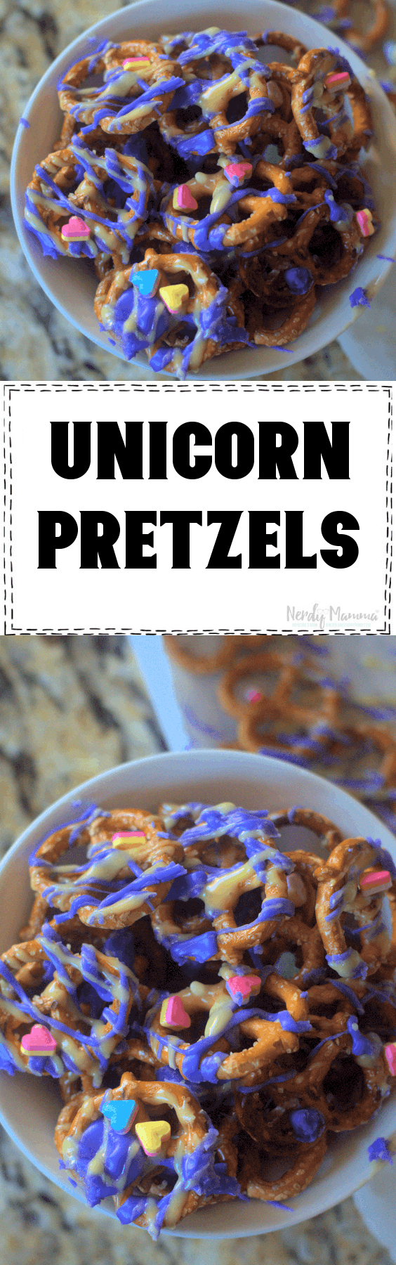 Nocking another simple party food out for a unicorn party...the ultimate in easy: Stupid Simple Unicorn Pretzels. You can't go wrong with pretzels, but if you're throwing down the ultimate unicorn party, this is the perfect snack to go along with all the sweets. And so simple you can make it anytime just for a smile. #nerdymammablog #unicorn #unicornsnack #unicornsnacks #unicornfood #unicornparty #party #partyfood #unicornpartyfood #funfood #sillyfood #funsnacksforkids #easypartyfood