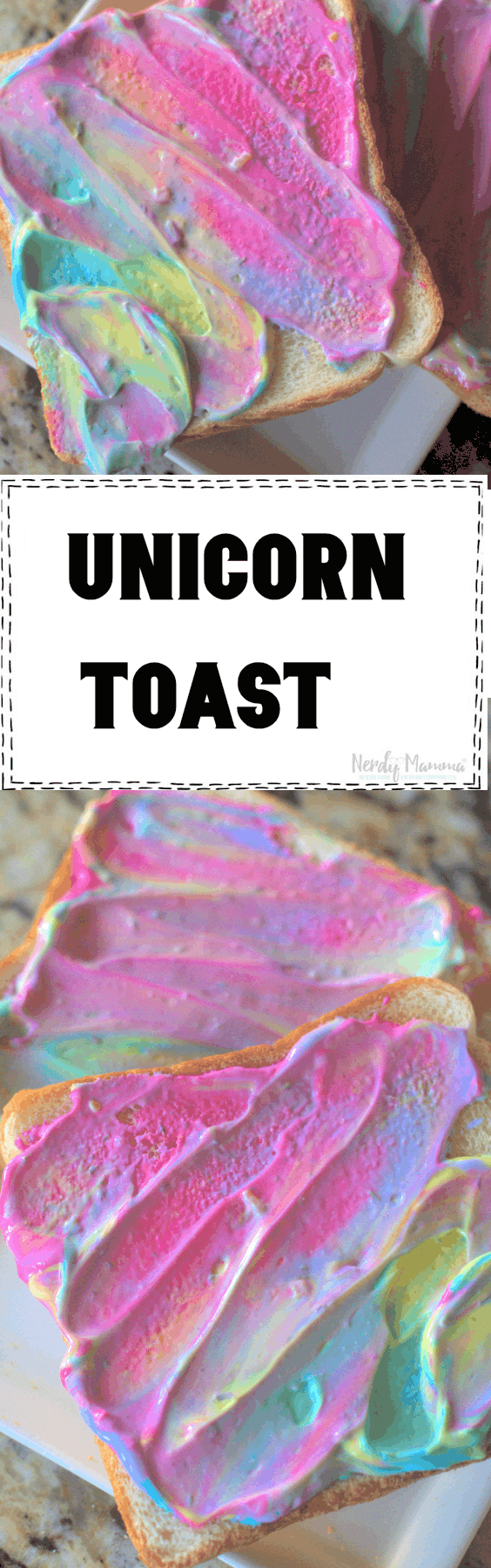 A ridiculous way to play with your kids' food and have fun with them. Because, frankly, having fun is one of the best things you can do with a kid. Breakfast Unicorn Toast. Freaking genius way to start a kid's day every once in a while. #nerdymammablog #unicorn #unicornfood #breakfast #unicornbreakfast #sillyfood #funwithfood #funfood #toast #creamcheese