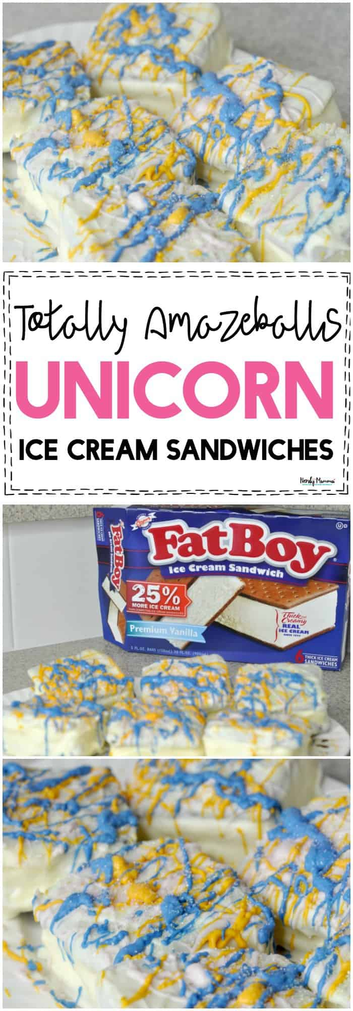 OMG You've GOT to try these AMAZEBALLS Unicorn Ice Cream Sandwiches! SO YUMMY!