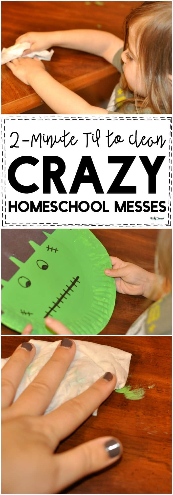 Check out this AMAZEBALLS 2-minute cleaning tip for crazy homeschool messes!