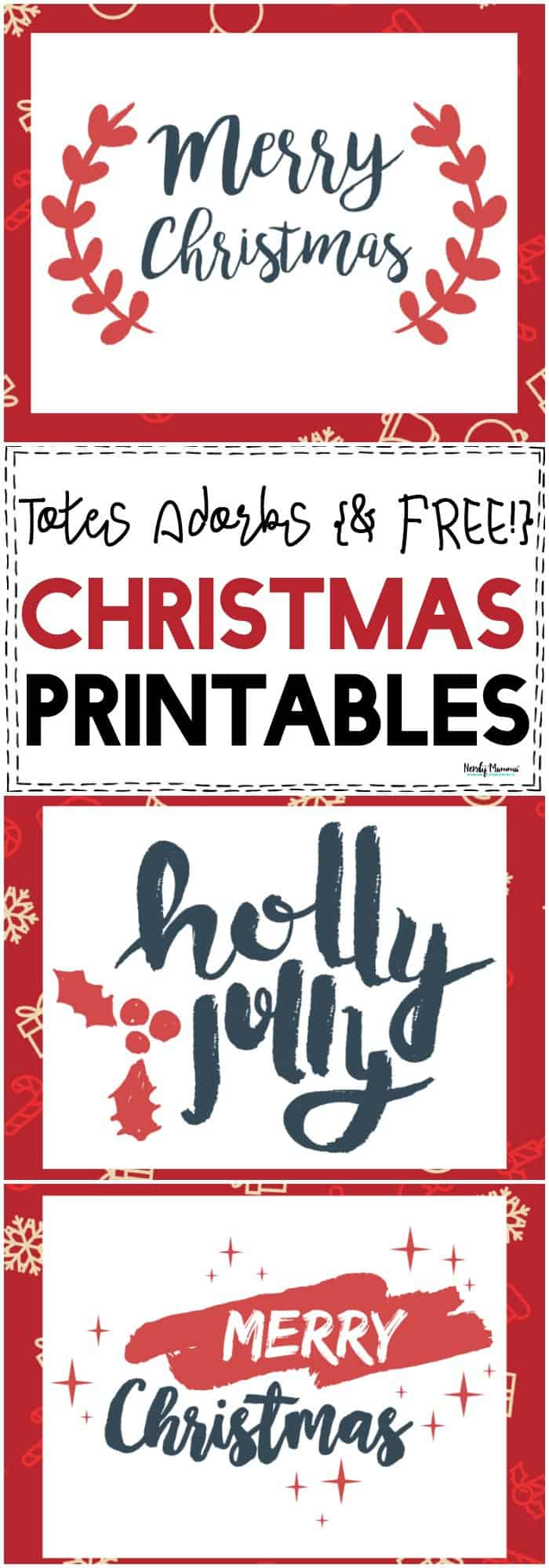 OMG! Check out these totes adorbs {& FREE!} Merry Christmas Printables! They're the cutest printable wall art for Christmas! #Christmas #FreePrintables #ChristmasPrintables