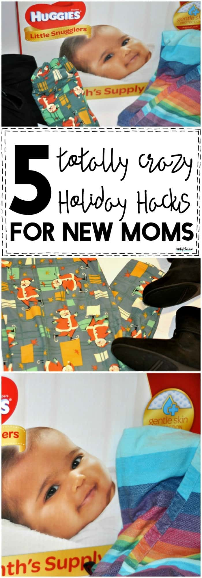 OMG, you've GOT to check out these 5 totally crazy holiday hacks for new moms. They're a LIFESAVER if you have a little baby during the holidays!! #Christmas #holidays #babies #newborn #pregnancy