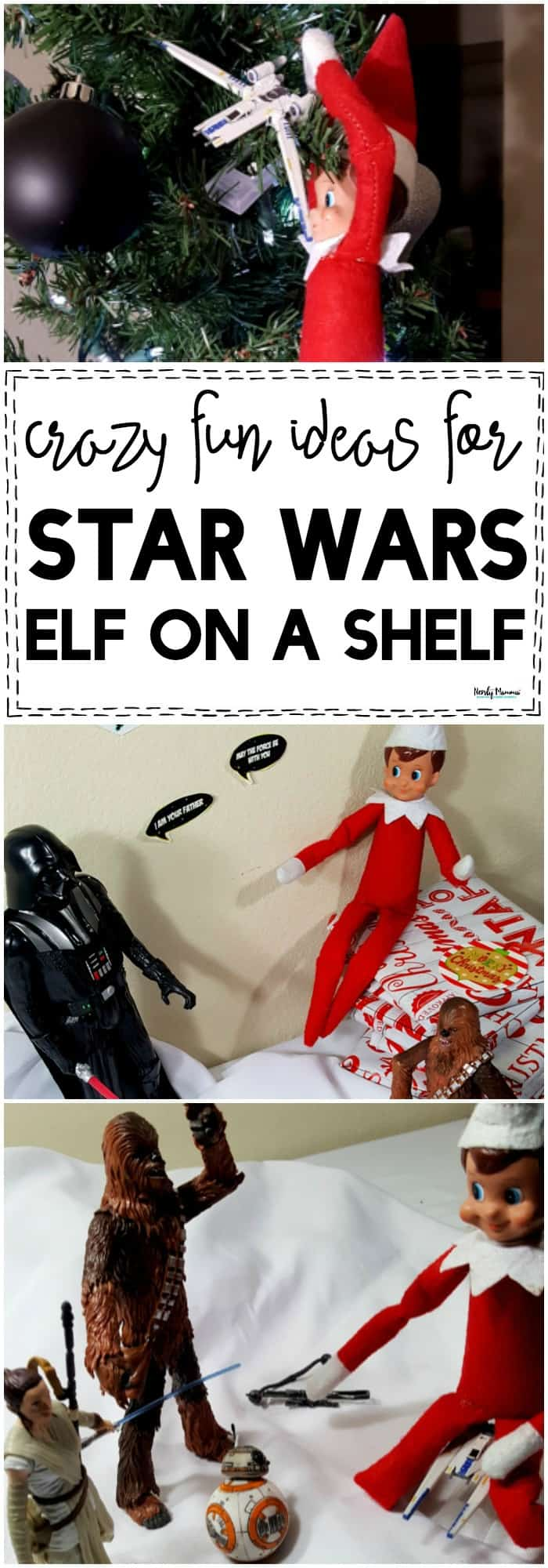 You've GOT to check out these super adorable Star Wars Elf on a Shelf ideas! #StarWars #ElfonaShelf #Christmas #KidsActivities #Activities #ElfIdeas #ElfonaShelfIdeas