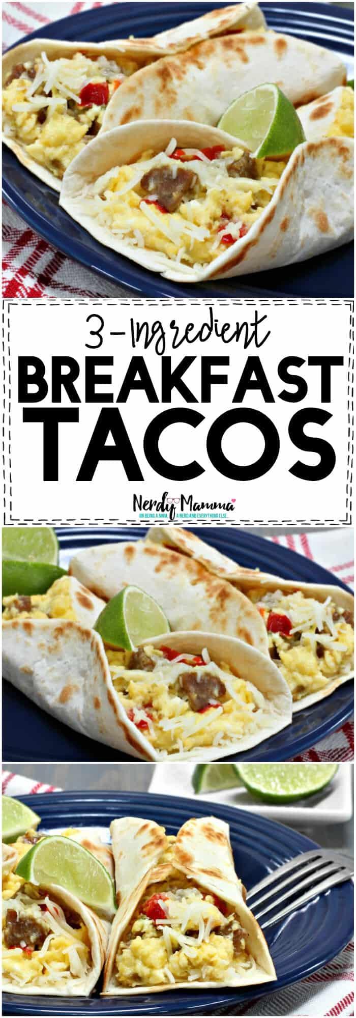 I love this 3-Ingredient Breakfast Tacos recipe. This is the single easiest breakfast taco recipe. It only has 3-ingredients! #breakfasttaco #breakfast #taco #tacos #simplerecipe #simplebreakfastrecipe #easybreakfastrecipe