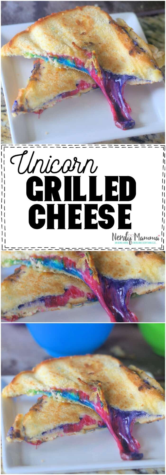 Dude. This Unicorn Grilled Cheese is perfect for the kids. Ridiculous and fun. #unicorn #grilledcheese #recipe #unicorngrilledcheese #silly #food