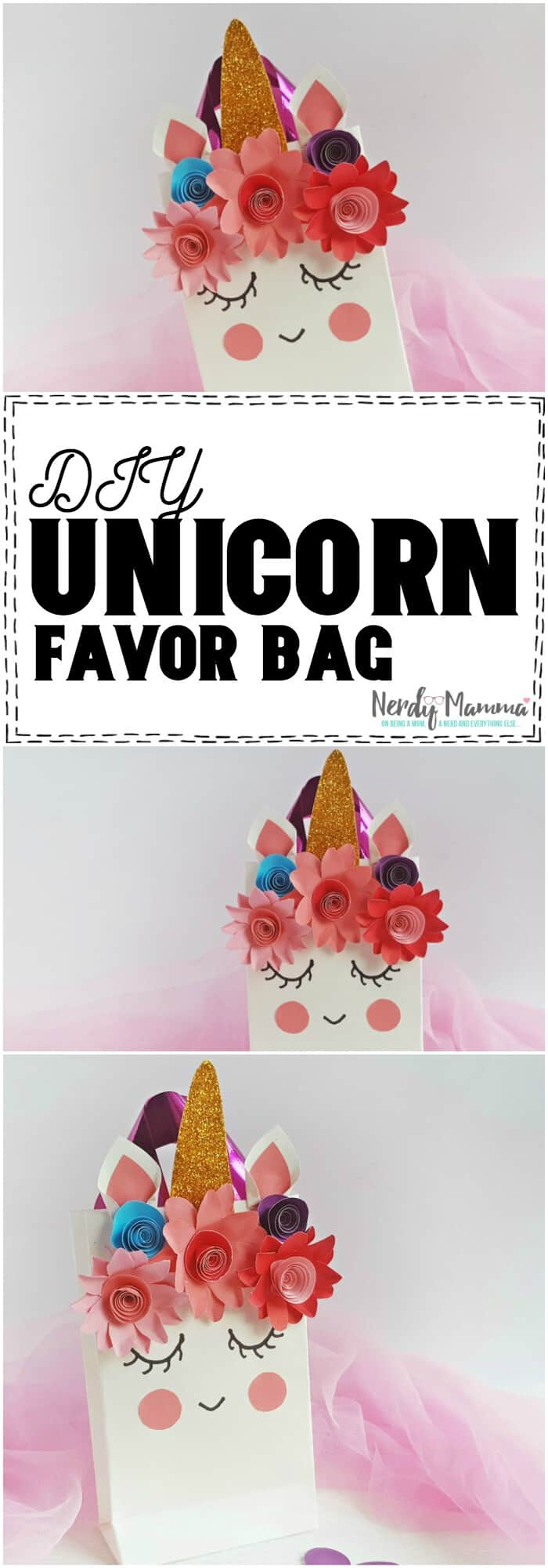 OMG! This Unicorn Favor Bag is such a cute DIY project! I would love to make these! #diy #craft #unicorn #party #favorbag #partydiy