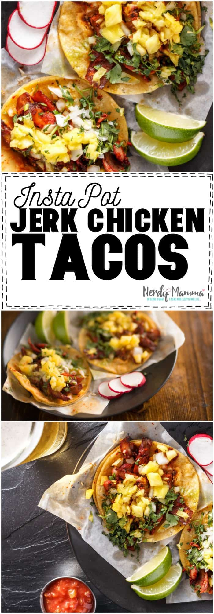 Oh, My, WOW. This recipe for Instant Pot Jerk Chicken Tacos is so simple--and blows my mind. #taco #recipe #tacorecipe #chicken #instantpot #instantpotrecipe #instantpotchicken #jerkchicken #yummy