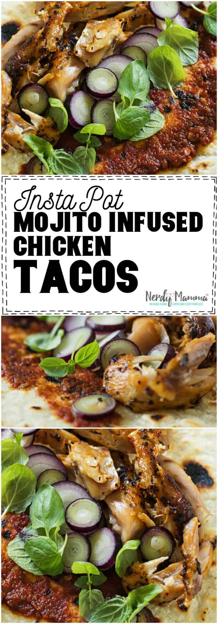 So hot. Chicken Tacos made in the Insta Pot with Mojito-flavoring. These Instant Pot Mojito Infused Chicken Tacos are awesome. #recipe #instapot #pressurecooker #chicken #chickenunderpressure #tasty #yummy #taco