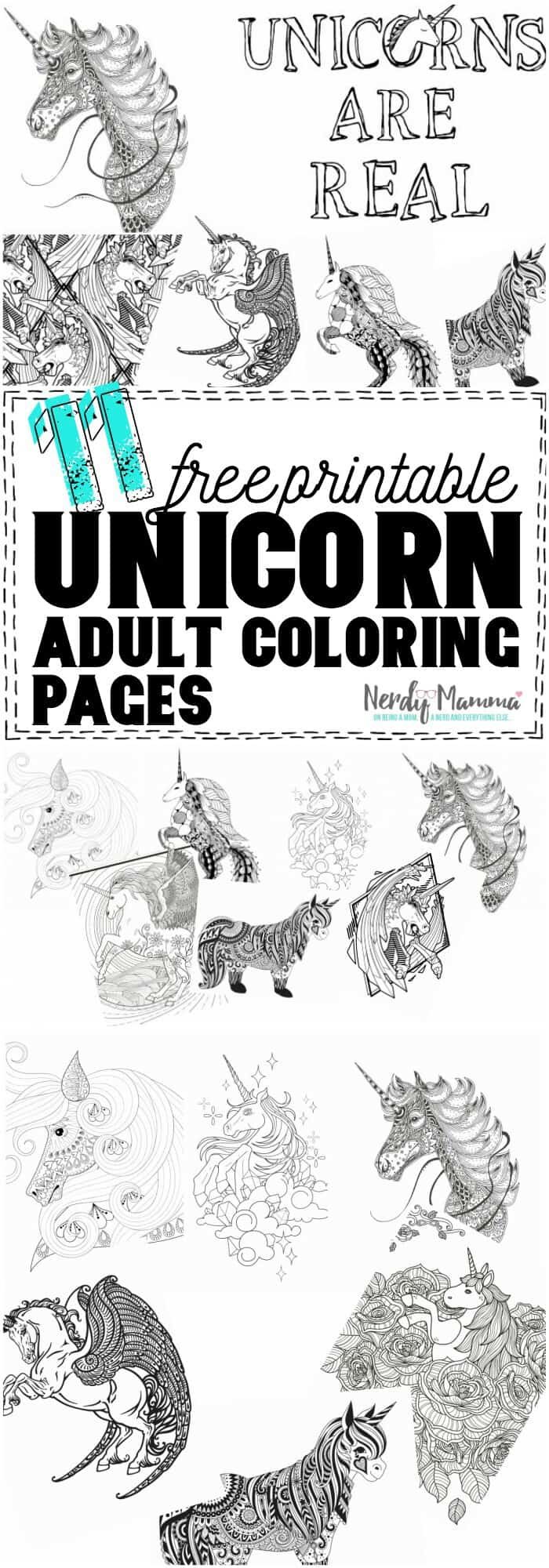 I am so excited to download all 11 of these free printable unicorn coloring pages! So cute! #coloring #adultcoloring #relaxing #fun