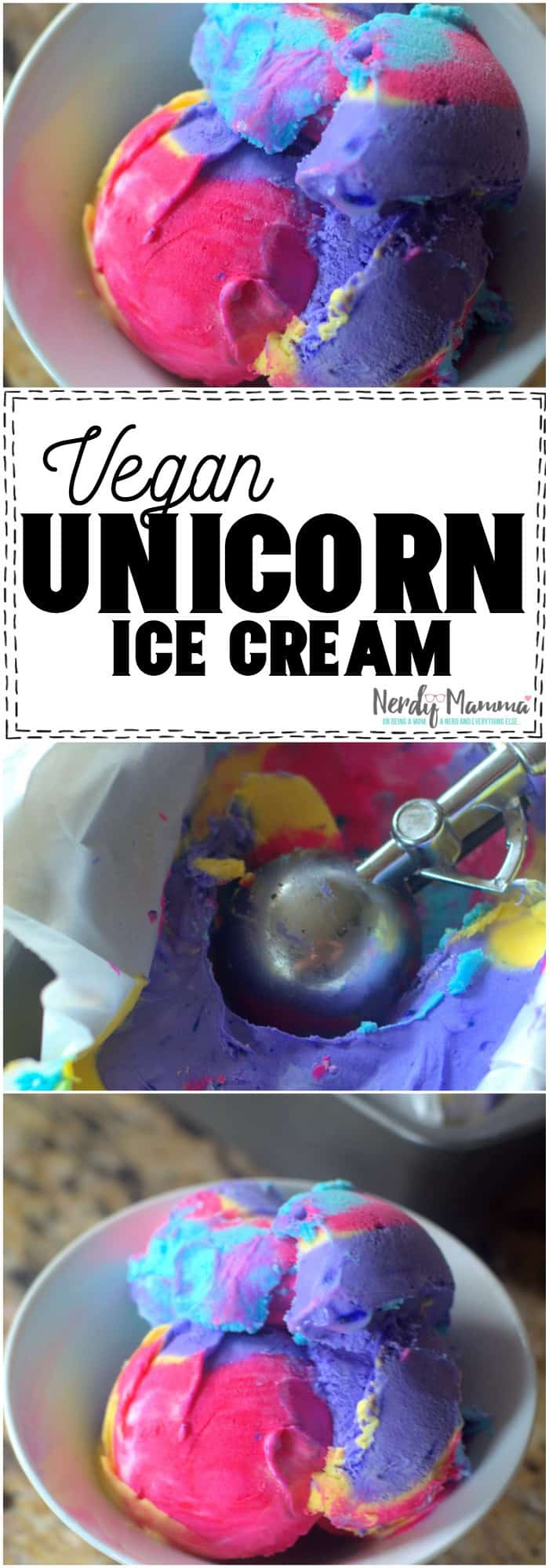 This Vegan Unicorn Ice Cream is so simple! Only 3 Ingredients and SO CUTE! #vegan #unicorn #recipe #3ingredient #simplefood #food #tasty #icecream #nicecream
