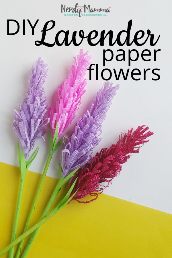 Bored with a corner of your bathroom? I was. So I totally made some DIY Paper Lavender Flowers. You can call them paper flowers. Or lavender paper flowers. Or anything--and you can make them in any color. Just make them, pot them and put them in your boring bathroom corner. Done. #nerdymammablog #craft #diy #papercraft #paperflower #paperflowers #craftflowers #easy #papercrafts