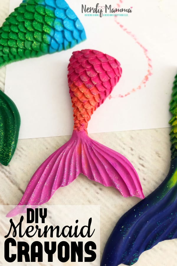 Yeah, I had a box of very nice new crayons--and then I didn't (because I have two little kids). Now, I have some Easy DIY Mermaid Crayons that are so pretty--and a lot thicker so there's less breakage and more funtimes. #nerdymammablog #mermaid #mermaidcrayon #recyclecrayons #crayon #diy #howto #howtoforkids #oldcrayonideas #repurposecrayons #repurpose #reuse #recycle