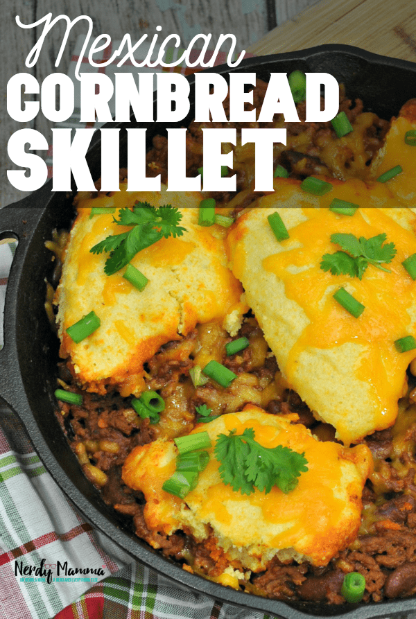 This is insane. I am in love with this Mexican Cornbread Skillet. How did I not know that this existed?! It's magic in a pan and my mom just told me how to make it and...HOW DID SHE NOT MAKE THIS MY WHOLE LIFE?! She is evil. #nerdymammablog #mexicanfood #mexican #mexicanrecipe #recipe #onepanrecipe #skilletrecipe #cornbread #mexicancornbread #tasty #food