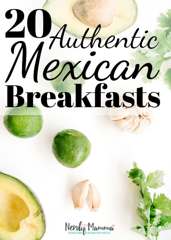 Better start your day off right with a hearty breakfast. I'm not saying every day. But most days--mostly those days where you wake up hungry. Need ideas? I've got just the20 Authentic Mexican Breakfast Recipes to make your day start on the right foot. #nerdymammablog #mexican #mexicanfood #mexicanbreakfast #mexicanrecipe #mexicanbreakfastrecipe