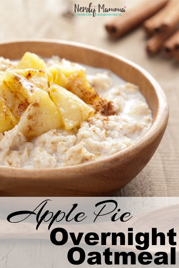 Glutton for tasty apple pie? But no apple pie handy? Think it's tacky to eat pie for breakfast? It's ok. I have you covered with this ridiculously tasty Apple Pie Overnight Oatmeal. Best breakfast-dessert crossover ever. #nerdymammablog #oatmeal #overnightoats #recipe #vegan #overnightoatmeal #breakfast