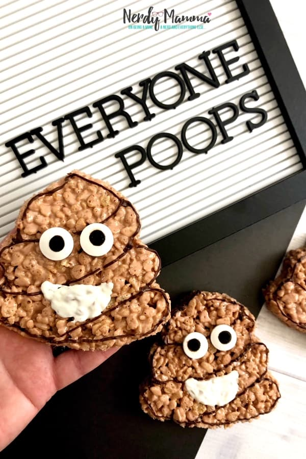 Look, we all poop. And wee have poopy days and we exclaim poop. Poop is just a fact of life. And now, thanks to a bad day and a even badder idea...well, we made some Poop Emoji Treats for snack time--because poop can also be funny. #nerdymammablog #ricekrispietreats #emoji #treats #snack