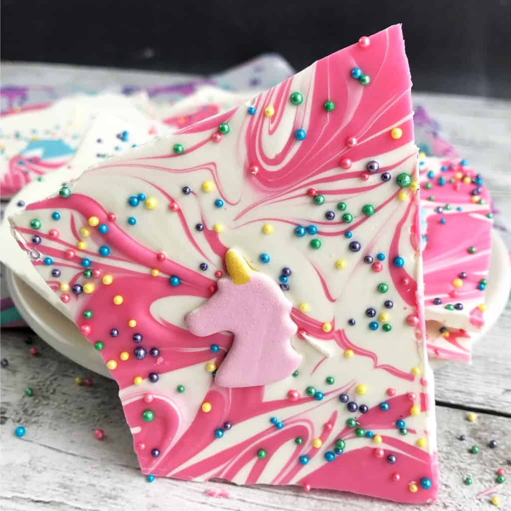 My own little twist on the classic bark...oh, yeah, Unicorn Bark Candy. Perfect for the oldest's upcoming birthday party...or just a snack late in the day after the kids go to bed. Whatever. I'll enjoy a piece of chocolate anytime. #nerdymammablog #unicorn #unicornfood #unicorntreat #unicornbark #bark #candybark #chocolate