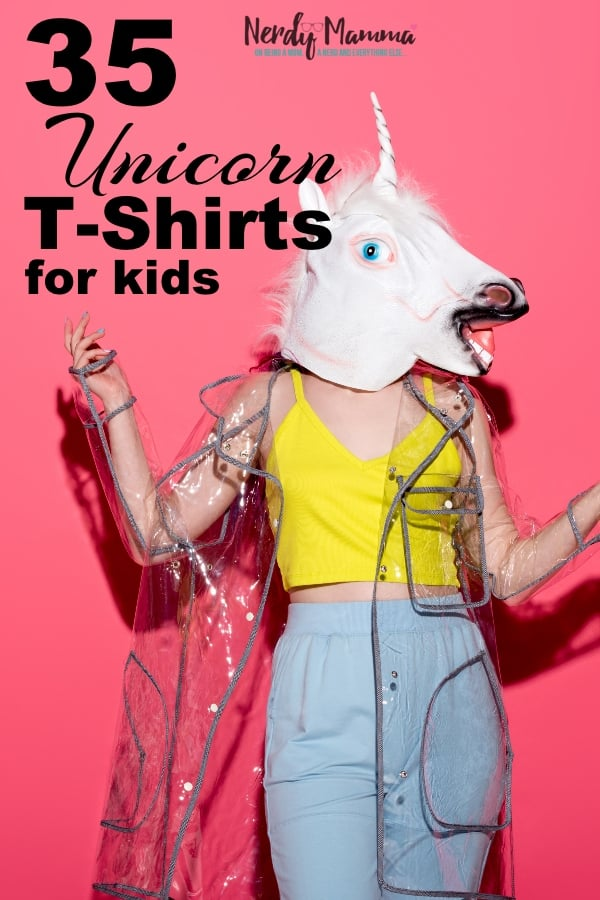Look, I love a good unicorn--but you know who loves unicorns even more than me? Kids. So, I pulled together these 35 Unicorn T-Shirts for Kids to let my kids pick a few out for back-to-school... #nerdymammablog #unicorn #tshirt #fashion #kids #backtoschool #unicornshirt