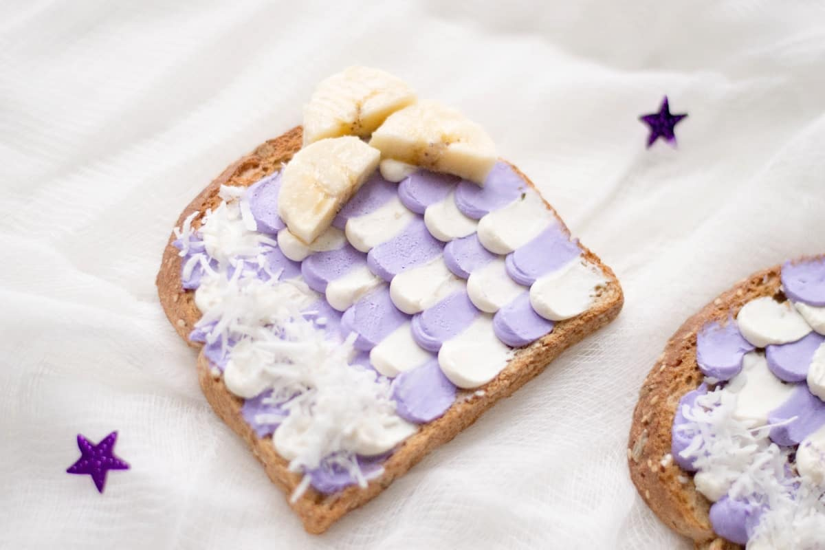 Yeah, I get it. You're looking for anything to make your picky eater be excited about a snack. Me too. That's why I'm pulling out the big guns: Mermaid Toast. Yep. Ridiculously cute--but easy, too. And the result: she absolutely loves it. #nerdymammablog #snack #mermaidtoast #mermaid #mermaidsnack #mermaidparty