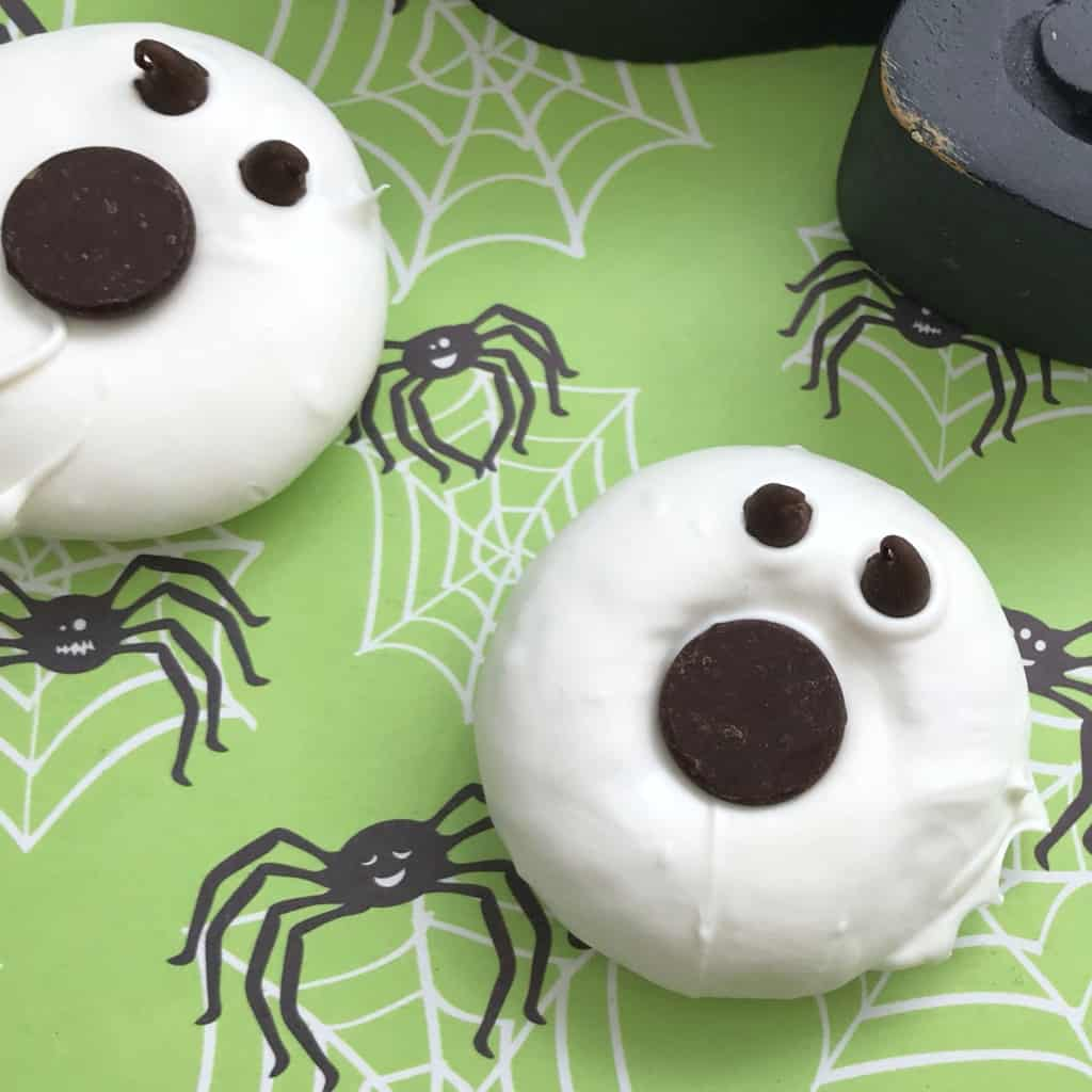It's freaking ghost donuts. You can call them ghoul donuts. Or Mini-Donut Ghosts. Whatever. But they're donuts that are ghosts. And they're delicious--as well as ghastly and kind of fun. #nerdymammablog #ghost #halloween #donut #doughnut #halloweenbreakfast