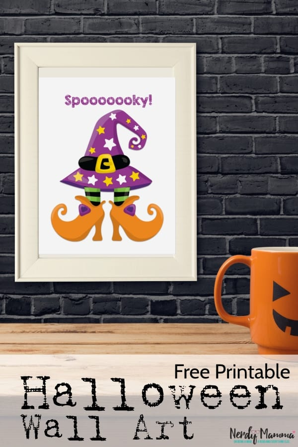 If you're anything like me and love to have little touches of decorationaround--but you're not about to spend an hour like PAINTING anything. Me? I like simple. And I like Free Printable Halloween Wall Art. #nerdymammablog #halloween #Printable #free #wallart