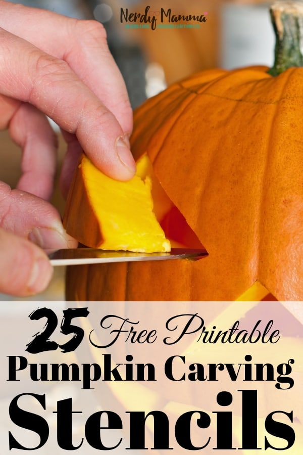 I'm a huge fan of carved pumpkins--but I'm a terrible carved-pumpkin designer. Really, it's sad. So, I came up with these 25 Free Printable Pumpkin Carving Stencils So Easy Anyone Can Do Them--that way I have a template. #nerdymammablog #pumpkincarving #printable